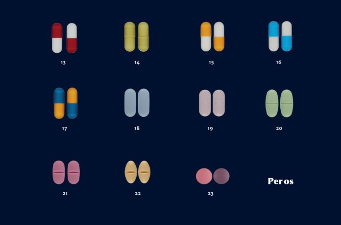 Image showing pairs of capsules and pills of various colours arranged in a grid, each pair with a number below it. The bottom right corner of the grid has the words
